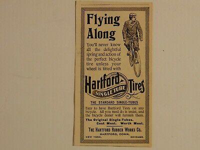 1896 HARTFORD SINGLE TUBE BICYCLE TIRES vintage art print ad