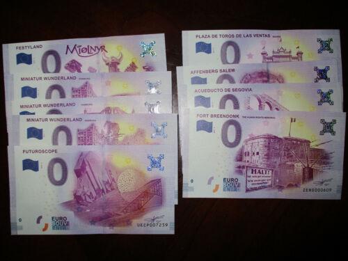 Set Of 9 Zero Euro Note