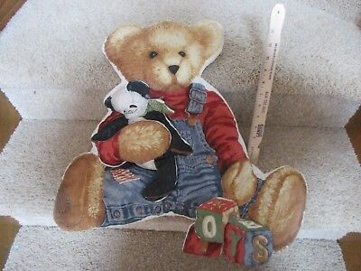 Blue Jean Teddy Nursery Wall Hanging Plush Panel Decor Bear Panda blocks ABC