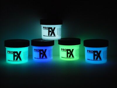 Green, Blue Aqua, Lilac White Glow in the Dark Paint 5 x 2oz pots, FREE BL TORCH](White Glow In The Dark Paint)