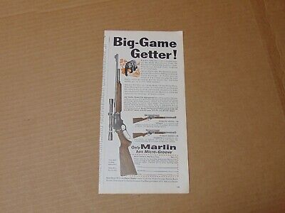 1960 MARLIN RIFLES BIG -GAME GETTER! with Micro-Groove print ad