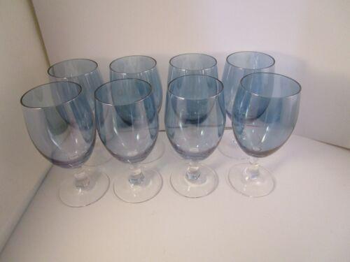 Vintage Cobalt Blue Iridescent Glass Set of 8 Liquor Cocktail Wine Glasses