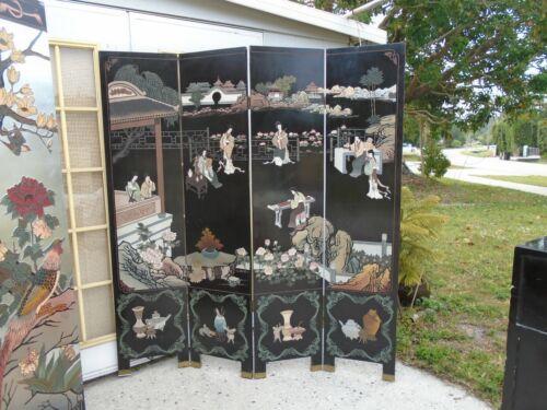Asian Screen Room Divider Japanese 4 panels Regency Coromandel STY Chinoiserie