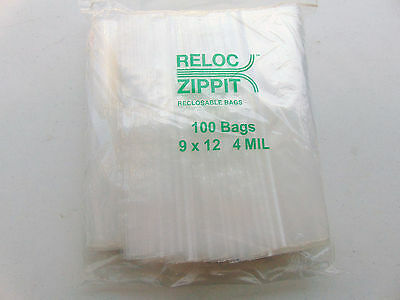 100 Ziplock 9 X 12 Heavy Duty 4mil 9 X 12 Bags Large Thick Clear Reclosable