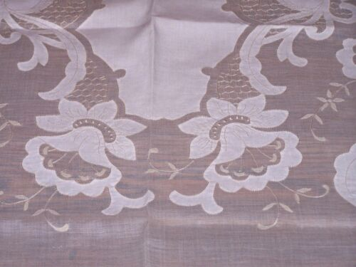 SPECTACULAR MADEIRA MARGHAB APPLIQUE TABLECLOTH 11 NAPKINS DAFFODIL PATTERN 1930
