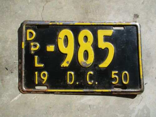 District of Columbia 1950 license plate #  985