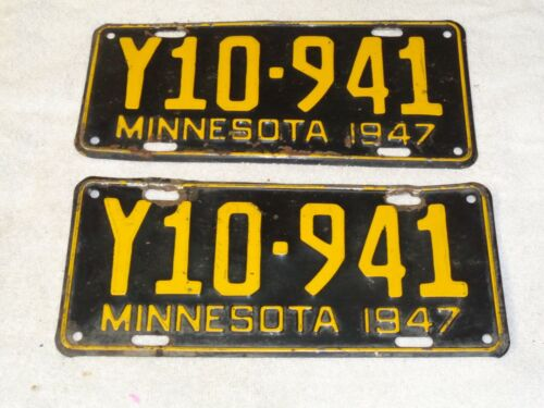 1947 Minnesota license plate, pair Y10-914   good condition.  TRUCK