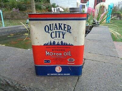 VINTAGE MOTOR OIL TIN CAN QUAKER CITY PENNSYLVANIA PETROLEUM PHILADELPHIA PA