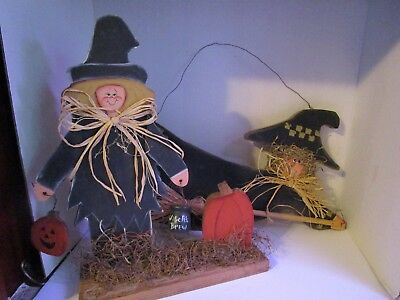 2 Halloween Primitive Wood Witch Hand Crafted / Hand Painted Wall Hanger & Table - Halloween Witch Hand Craft