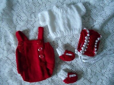 """Doll Clothes white-red  set handcrafted 4 pc for composition baby 11"""" 13"""""""