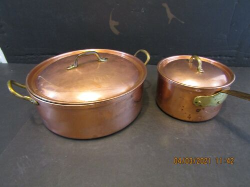 2-VINTAGE COPPER-LIDDED-POT AND SAUCEPAN-MADE IN PORTUGAL
