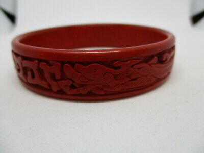 Carved Red Cinnabar Lacquer Floral Bangle Vintage Deep Carved Cinnabar Floral Bracelet Bangle
