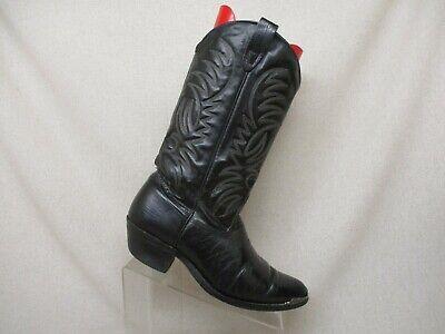 Texas Brand Black Leather Lizard Cowboy Boots Mens Size 9.5 M Style 94315 USA Black Lizard Cowboy Boots