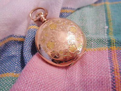 1909 ANTIQUE VICTORIAN GOLD FILLED ELGIN POCKET WATCH ORNATE FLORAL CASE