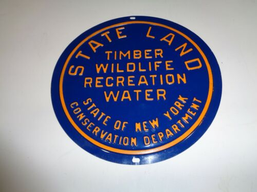 """Vintage New York State Land Timber Wildlife Water Tin Sign 8"""" Hunting Fishing"""
