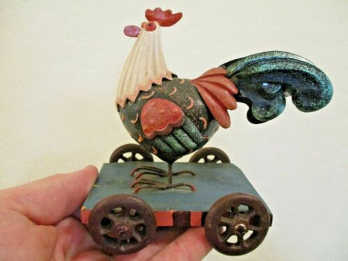 Small Metal and Resin Rooster Chicken on Cart Folk Art Figurine Country Decor