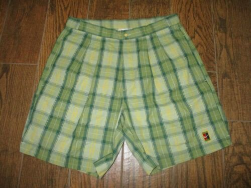 VINTAGE 90's Nike Pete Sampras Tennis Shorts Plaid Green Adjustable Size 34