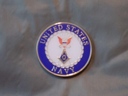 "Masonic 3"" Car Emblem US Navy Square Compass Fraternity Military Metal NEW!"