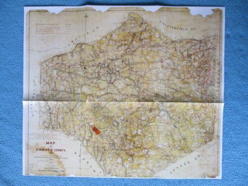 # Civil War Map - Dinwiddie County, Virginia 1864, Detail Roads, Towns, Topo