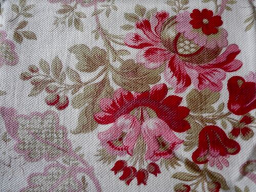 Antique French Pomegranate Floral Cotton Fabric ~ Rose Pink Red Sage Eggplant