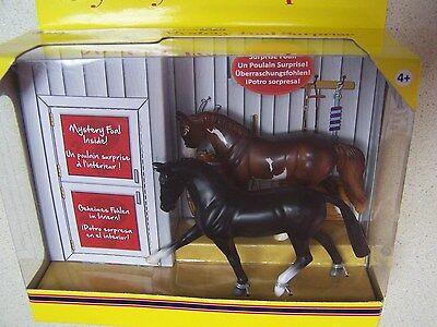 Breyer Stablemates Mystery Foal Surprise Black Hanoverian & Chestnut Pinto- NIB