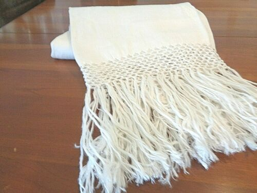 Antique Hand Loomed Large 100% linen damask Very High End Bath Towel