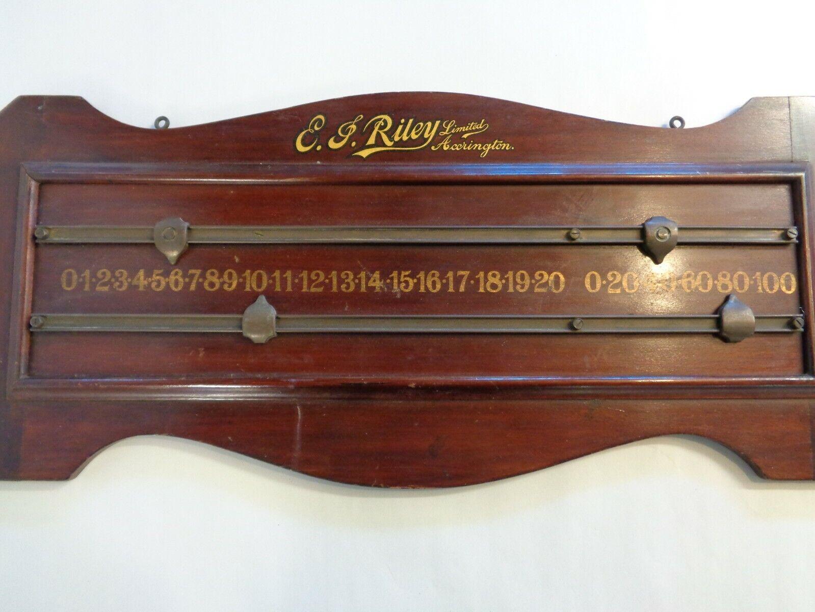 Vintage Snooker / Billiards Scoreboard - E. J. Riley Limited, Accrington