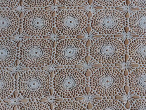 "ANTIQUE Vintage Elegant Handmade Crochet Lace Tablecloth Runner Beige 34""/18"""