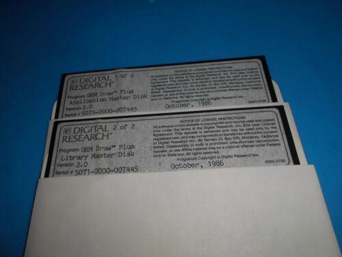 """Digital Research GEM Draw Plus 2 Floppy Disks Diskettes 5 1/4"""" Vtg 1985 2.0"""