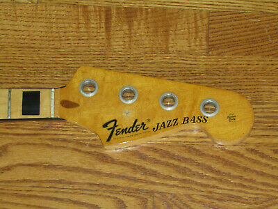 FENDER VINTAGE 1973 MAPLE JAZZ BASS GUITAR NECK - BLACK BINDING and BLOCKS