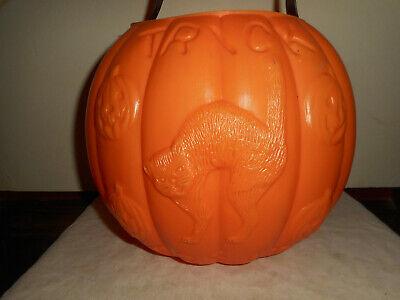 Vintage AJ Renzi Halloween Blow Mold Pumpkin JOL Trick or Treat Candy Pail CAT