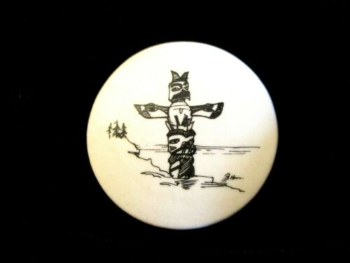 LARGE Vintage STUDIO Clothing BUTTON Signed by SHIRLEY SHAW - TOTEM POLE
