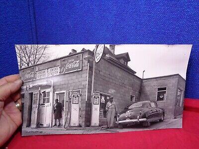 Vintage ESSO Service Station Picture Gas Pumps BLACK AMERICANA PHOTO