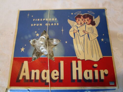 Antique Angel Hair tree topper SPUN GLASS Box NATIONAL TINSEL Mfg. USA Vintage