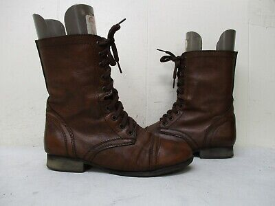 Steve Madden Troopa Mahogany Leather Zip Lace Military Fashion Boots Size 8.5 M ()