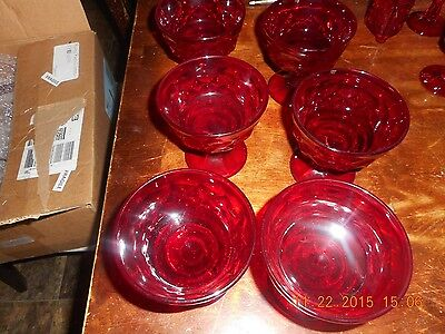 Lot of 6 Ruby Red Glasses or parfait dishes