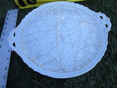 Rare Richard Ginori Italy embossed scalloped Round Handled Serving Platter Tray