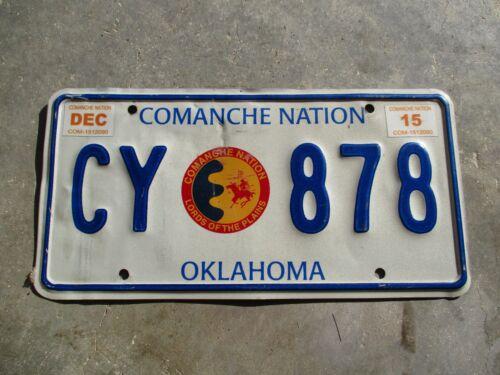 Oklahoma 2015 Comanche Nation license plate #  CY  878