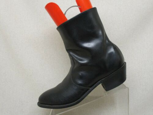 Black, Leather, Lizard, Skin, Side, Zip, Cowboy, Western, Boots, Mens, Size, 9.5, D, -1196