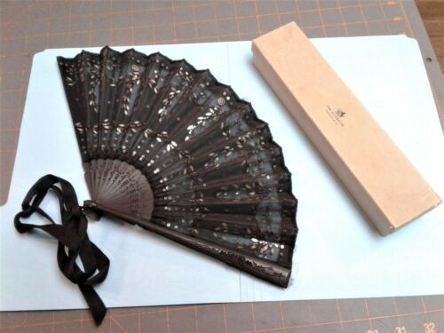 Antique Victorian Mourning Ladies Folding Black Hand Fan with Sequins in Box