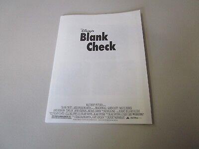 Movie Press Kit Blank Check Brian Bonsall  Movie Photo With Booklet Information