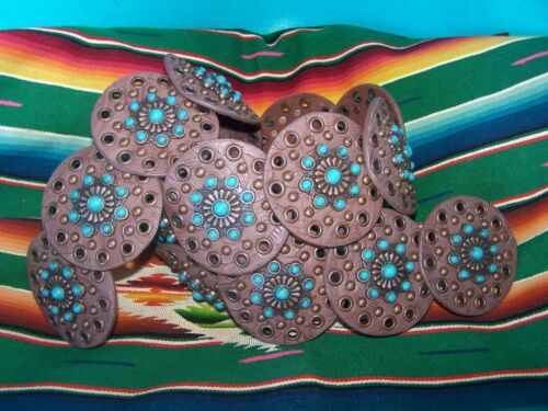 Cowgirl Western Rodeo Gypsy Turquoise Cluster Concho Rivet Disc Belt~XL~Nocona