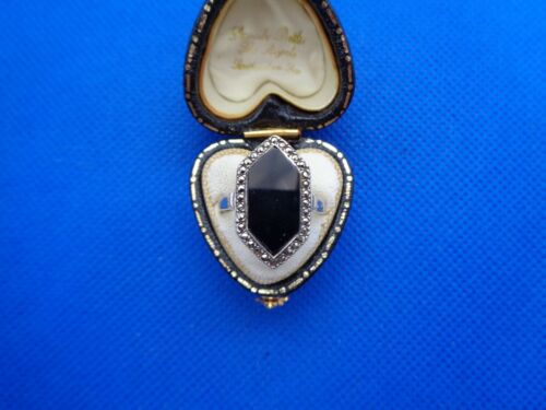 ANTIQUE VINTAGE ART DECO STERLING SILVER & ONYX RING