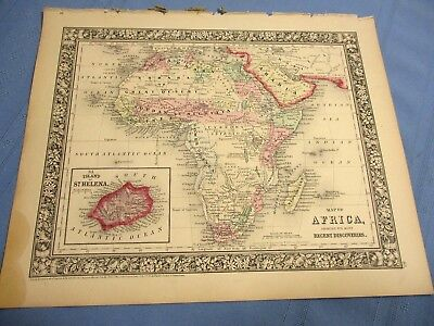 1865 Colored Map - AFRICA, showing it's most RECENT DISCOVERIES - Civil War Year