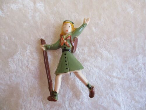Vintage Girl Scout with Walking Stick Plastic Celluloid Pin