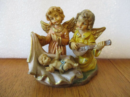 Vintage Italy Hard Plastic/Resin Angels with Baby Jesus Figurine