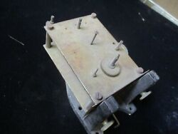 LARGE WEIGHT DRIVEN ANTIQUE CLOCK MOVEMENT W/ IRON BRACKET