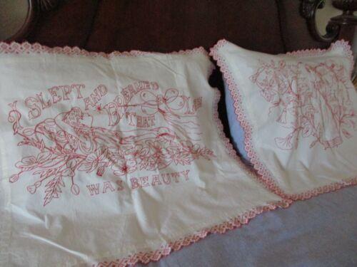 "Antique Victorian Hand Embroidered Redwork Pillow Shams 30"" x 26"""