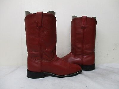 Acme Red Leather Roper Cowboy Boots Womens Size 7 M Style 18043