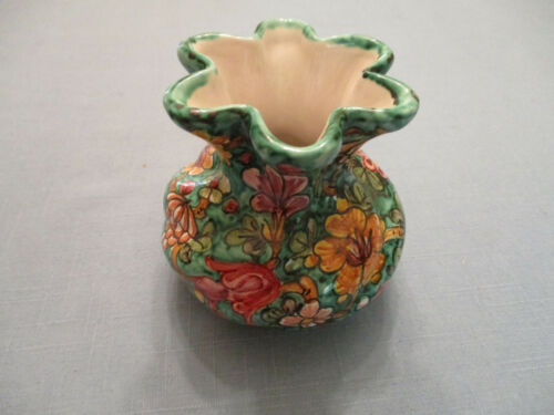 """BIAGIOLI CM GUBBIO 202 SMALL HAND PAINTED?ITALY VASE 3 5/8"""" TALL AND WIDE"""